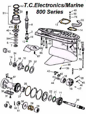 OMC 800 stern drive parts and drawing